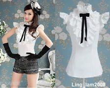 Japan fashion punk Rock gothic Lolita Lace Collar top Blouse Shirt White S~XL