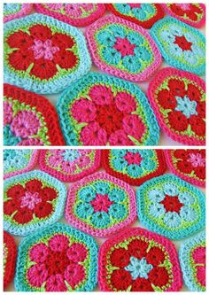 Hexagons / African flower  http://heidibearscreative.blogspot.dk/2010/05/african-flower-hexagon-crochet-tutorial.html  above is the website for the pattern in english, spanish and danish.
