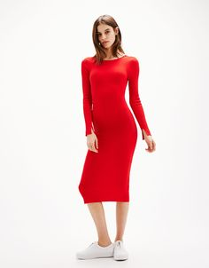 Seeing Red, SHIFT DRESS WITH TRUMPET SLEEVES from Zara; $69.90 ...