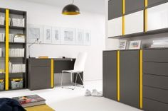 GRAPHIC Cabinet (Home Office) furniture set. Polish Black Red White Kids Furniture Store in London, United Kingdom White Kids Furniture, Home Office Furniture Sets, Modern Furniture Stores, Smart Furniture, Kids Room, Cabinet, Bedroom, Interior, House