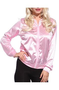 Grease Pink Ladies Adult Satin Jacket at Amazon Women's Coats Shop