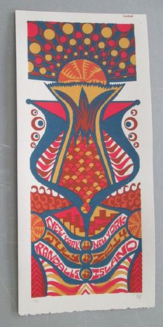 Original silkscreen concert poster for Phish at Randalls Island in New York City, New York in 2014. It is printed on Watercolor Paper with Acrylic Inks and measures around 10 x 22 inches.  Print is signed and numbered out of only 50 by the artist Tripp.