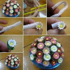 Flores de vasos de plastico
