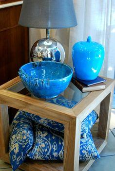 Madera natural + azul turquesa