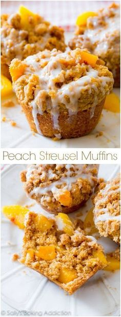 These peach muffins are heavy on the crumb topping and sweet vanilla glaze! Butt… These peach muffins are heavy on the crumb topping and sweet vanilla glaze! Buttery, tender, and moist…this is my favorite peach muffin recipe! No Bake Desserts, Just Desserts, Dessert Recipes, Southern Desserts, Desserts With Peaches, Recipes With Peaches, Health Desserts, Oreo Dessert, Dessert Sushi