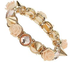 Peach rose and spike bracelet (£6.01) ❤ liked on Polyvore featuring jewelry, bracelets, accessories, bracelet jewelry, bracelet bangle, spike bracelet, rose bangle and rose jewelry