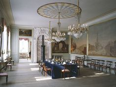 Dining Room - Stiftsgården is the royal residence in Trondheim, Norway. It is centrally situated on the city's most important thoroughfare, Munkegaten. At 140 rooms constituting 4000 m² (43000 ft²), it is possibly the largest wooden building in Northern Europe, and it has been used by royals and their guests since 1800. Photo: Jiri Havran
