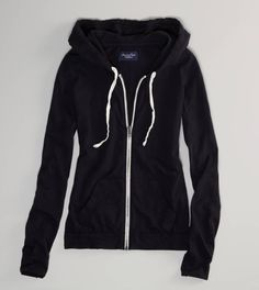 Basic black hoodie. I love how its so simple! Id wear it w/ neon pink skinnies; black converse; and several bracelets; TA DA!