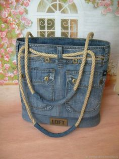 Handmade women s bags order jeans Order jeans … - Diy And Craft Love this denim tote! Cool country more Leather details? Arts and crafts fair. Interior, style, cord, metal accessories DIY Bag and Purse Chic bag made of old jeans diy – Artofit A beade Denim Tote Bags, Denim Purse, Handmade Handbags, Handmade Bags, Denim Crafts, Recycled Denim, Fabric Bags, Fashion Bags, Fashion Handbags