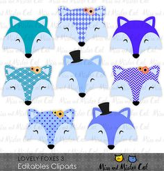 Fox clipart. Foxes vector graphics, Foxes clip art, digital images. Commercial use. Model Lovely Foxes 3  Vector clipart set is suitable for