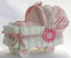 """Stunning Pink and Pearl Silk Baby Girl Diaper Cake/ Bassinet this diaper bassinet! For the diaper """" drawing """" Baby Shower Cakes, Baby Shower Niño, Baby Shower Diapers, Baby Shower Parties, Baby Shower Gifts, The Babys, Diaper Bassinet, Cadeau Baby Shower, Bebe Shower"""