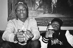 ASAP Rocky and Schoolboy Q, drinking and smoking. Rap Music, Music Love, Asap Mob, Lord Pretty Flacko, Schoolboy Q, Hip Hop Instrumental, A$ap Rocky, Hip Hop Rap, Rapper
