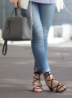 OUTFIT IDEAS AND HOW TO STYLE: 7ForAllMankind denim / Small Fendi 2Jours in grey / Massimo Dutti lace-up sandals