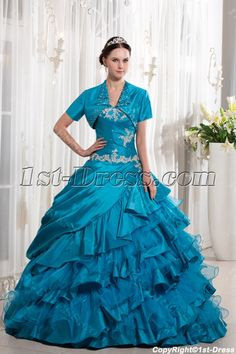Turquoise Blue Ruffle 2014 Ball Gown Quince Dress with Jacket:1st-dress.com