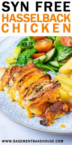 Easy Peasy Syn Free Hasselback Chicken Basement Bakehouse : This Syn Free Hasselback Chicken is the perfect Slimming World family dinner recipe! Tender chicken, melted cheese, crispy bacon and juicy tomato come together in a delicious syn free chicken re Healthy Sweet Snacks, Easy Healthy Recipes, Healthy Cooking, Healthy Eating, Cooking Recipes, Slimming World Dinners, Slimming World Chicken Recipes, Slimming Eats, Slimming World Sweets