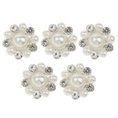 Pack of 5 Rhinestone Pearl Flower Shank Buttons Embellishments For Sewing Craft 21MM ** You can get additional details at the image link.
