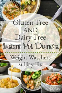These Gluten-Free and Dairy-Free Instant Pot dinner recipes are easy, delicious and healthy meals the whole family will love! 21 Day Fix & Weight Watchers. recipes gluten free Gluten-Free and Dairy-Free Instant Pot Dinner Recipes Gluten Free Recipes For Dinner, Instant Pot Dinner Recipes, Healthy Recipes, Easy Dinner Recipes, Easy Meals, Gluten Free Dinners Easy, Gluten Free Recipes Crock Pot, Dairy Free Recipes Easy, Gluten Free Recipes Instant Pot