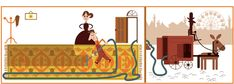 Today's Doodle celebrates British engineer Hubert Cecil Booth, inventor of the Birthday Dates, Happy Birthday, Les Doodle, Booth, Restaurant Seating, Google Doodles, Logo Google, Illustrators, Art Nouveau