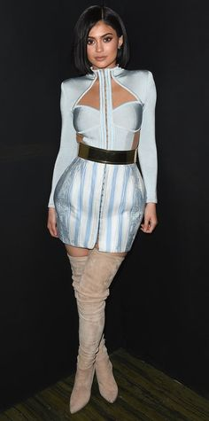 Kylie Jenner switched from one custom Balmain design to another for the Met Gala after-party. She wore an icy blue cut-out creation with a mirrored belt and suede thigh-high boots.