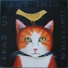 Lead us not into temptation | American Folk Art Painting - Diane Ulmer Pedersen