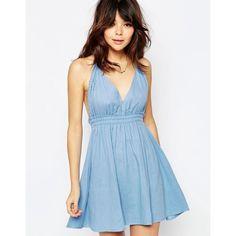 ASOS Plait Halter Sundress ($22) ❤ liked on Polyvore featuring dresses, multi, sundress dresses, blue cotton dress, halter-neck dress, blue halter top and asos dresses