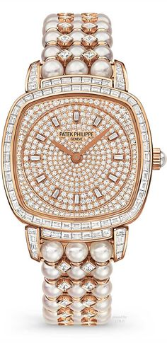 Patek Philippe Watch~ in diamonds and pearls