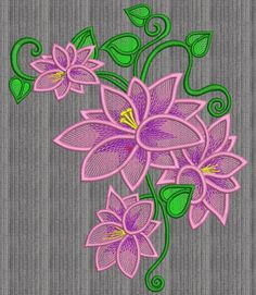 Lily embroidery design. Floral embroidery