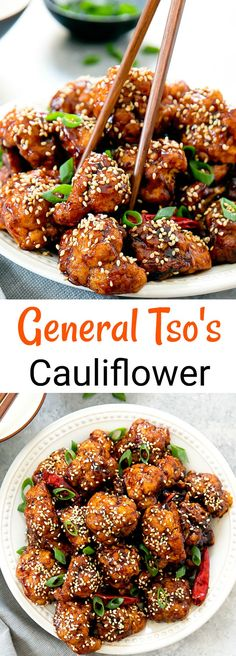 Crispy General Tso's Cauliflower. Replacing chicken with fried cauliflower for a meatless version of General Tso's chicken.
