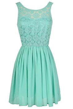 Perrenial Path Lace Dress in Mint  www.lilyboutique.com
