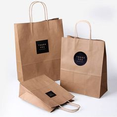 5 x Kraft Paper Bags with Handle / Brown / Kraft Shopping Bags / Weddings / Gift bags / Favor bags /