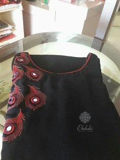 To customize, whatsapp 9043230015 for Saree, Blouse and Kurtis Embroidery On Kurtis, Kurti Embroidery Design, Hand Embroidery Dress, Embroidery Neck Designs, Embroidery On Clothes, Aari Embroidery, Salwar Neck Designs, Churidar Designs, Dress Neck Designs