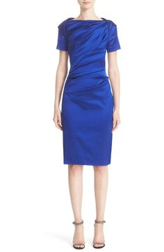 Main Image - Talbot Runhof Stretch Satin Sheath Dress