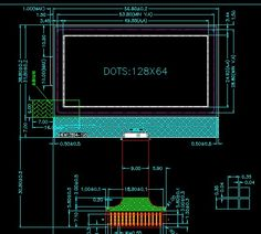 12864 Character 128x64 Dots Graphic Matrix LCD Display Module Blue Backlight COG