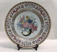 Large Famille Rose porcelain platter - China - 18th century