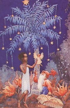 An African woman under her Christmas palm is bemused by the white angel brought to her by a Finnish Santa - Rudolf Koivu - Finnish illustrator Fairy Tea Parties, Tea Party, Holiday Images, Holiday Fun, Christmas Goodies, Christmas Cards, Black Christmas, Winter Holidays, Vintage Images
