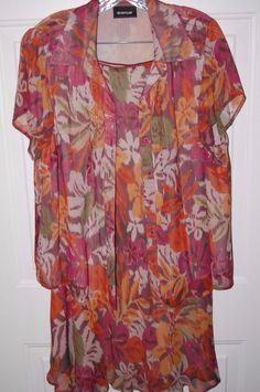 Avenue Dress Womens 14/16 Skirt Blouse 2 Piece Set Silk #Avenue