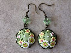 Lovely Polymer Clay Floral Applique Earrings in by charancreations