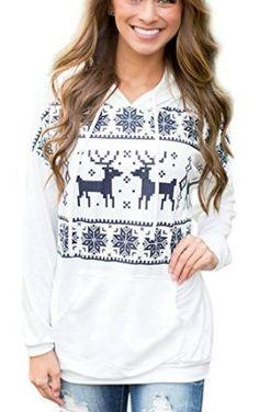 CRAVOG Women's Casual Thick Reindeer Fawn Hooded Fleece Sweater Sweatshirt Jacket