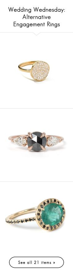 """Wedding Wednesday: Alternative Engagement Rings"" by polyvore-editorial ❤ liked on Polyvore featuring weddingwednesday, alternativeengagementrings, jewelry, rings, gold pave diamond ring, 18 karat gold ring, yellow gold rings, 18k yellow gold ring, yellow gold diamond ring and gold band wedding rings"