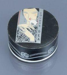 Cana - «Poudre Réa» - (années 1930 - Grèce) - Rare boite de poudre cylindrique illustrée polychrome