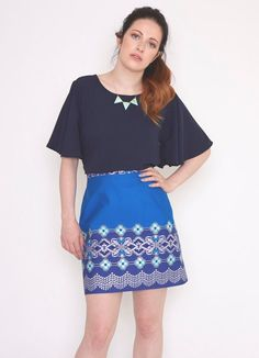 Mollie Brown cotton skirt Handmade from an amazing African fabric in a blue and silver pattern, with an invisible zip to fasten at the back. Length...