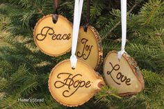 Rustic Country Christmas Ornament Set of 4 Hope Love by HomenStead,