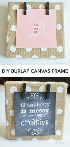 DIY Burlap Canvas Frame - with polkadots! | U create | Bloglovin'