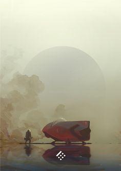 Smokey Spaceship – Art by Boris Stanisic on ArtStation. Arte Sci Fi, Sci Fi Art, Space Fantasy, Fantasy Art, Fantasy Landscape, Landscape Art, Illustrations, Illustration Art, Aliens