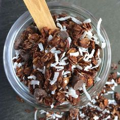 Chocolate, coconut and almonds are lightly sweetened with honey to create this healthy and addictive homemade granola.