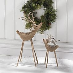 These unique Burlap Reindeer have a rustic look with their brown burlap bodies, winding antlers and long legs. Add interest to your seasonal decorations!