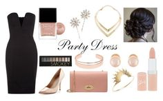 """Party Dress"" by zaza2000 ❤ liked on Polyvore featuring Amalie & Amber, Charles David, Mulberry, Rimmel, Butter London, Sarah & Sebastian, Leith, Kenneth Jay Lane, Jennifer Behr and Forever 21"