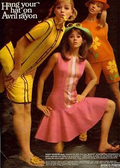 Rayon summer fashions from Seventeen magazine, That yellow dress is the perfect 2013 retro dress. Joan Paulson, Colleen Corby and Cay Sanderson. 60s And 70s Fashion, Mod Fashion, Fashion Models, Sporty Fashion, Gothic Fashion, Trendy Fashion, Fashion Women, Winter Fashion, Moda Vintage