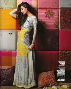 Indian gown, simple but elegant love the long arms and the kick of yellow