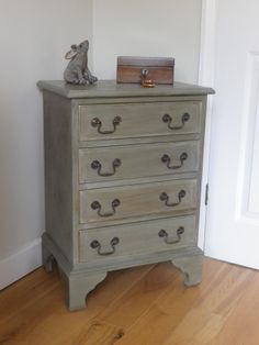 Georgian Revival Chest in Chateau Grey with dark wax and gold details